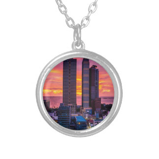 Manila Philippines Skyline Silver Plated Necklace