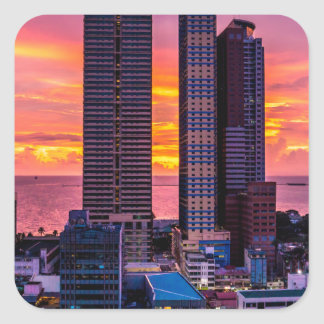Manila Philippines Skyline Square Sticker
