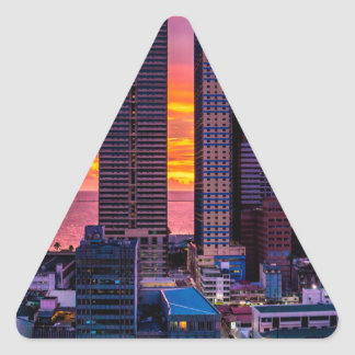 Manila Philippines Skyline Triangle Sticker