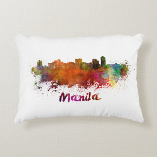 Manila skyline in watercolor decorative cushion
