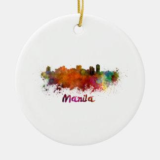 Manila skyline in watercolor round ceramic decoration
