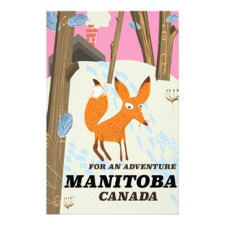 Manitoba Canada vintage style travel poster Stationery