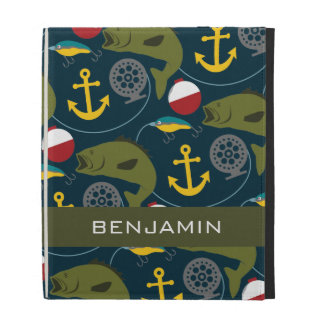 Manly Fisherman Pattern with Custom Name iPad Folio Covers