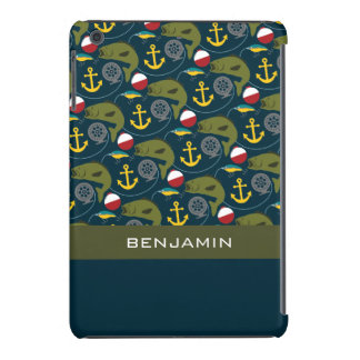 Manly Fisherman Pattern with Custom Name iPad Mini Cover
