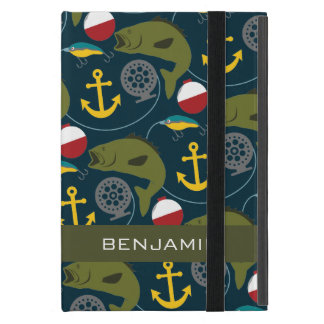 Manly Fisherman Pattern with Custom Name Covers For iPad Mini