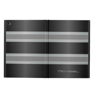 Manly Gray Black Stripes Monogram