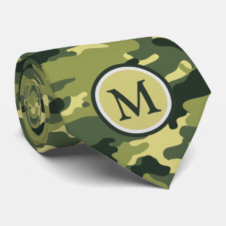 Manly Green Camouflage Camo Military Monogram Tie