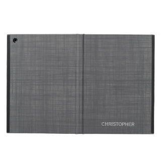 Manly Linen Look with Gray Personalized Name iPad Air Case
