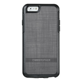 Manly Linen Look with Gray Personalized Name OtterBox iPhone 6/6s Case