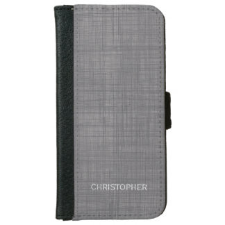 Manly Linen Look with Grey Personalised Name iPhone 6 Wallet Case