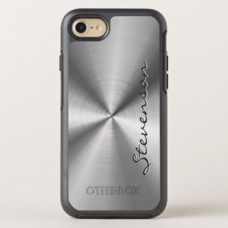 Manly Metallic Radial Stainless Steel Look OtterBox Symmetry iPhone 7 Case