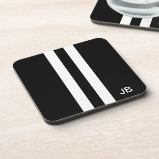 Manly Monogram Black and White Stripe Coasters