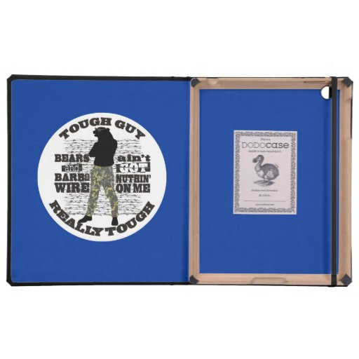 Manly tough guy overkill cool man bear barbed wire iPad folio cases
