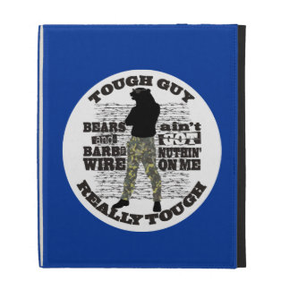 Manly tough guy overkill cool man bear barbed wire iPad case
