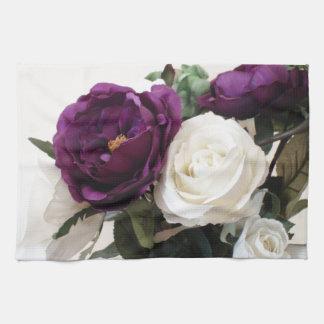 Manmade Purple And White Roses Tea Towel