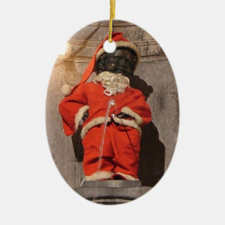 Mannekin Pis Christmastime Ceramic Ornament