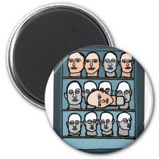 Mannequin Heads 6 Cm Round Magnet