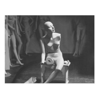 Mannequin with leg and arm removed postcard