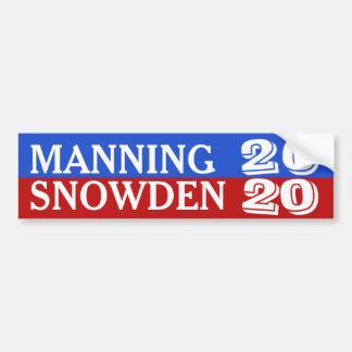 Manning/Snowden 2020 Bumper Sticker