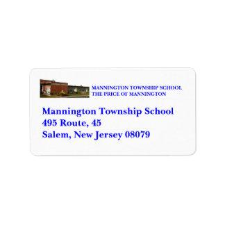 MANNINGTON TOWNSHIP SCHOOL PERSONAL ADDRESS LABELS