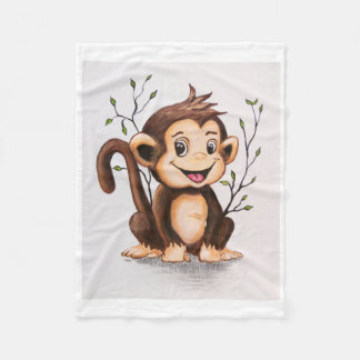 Manny the Monkey Fleece Blanket