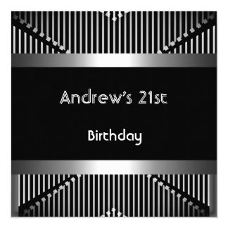 Man's 21st Birthday Party Silver Black Metal Jewel 13 Cm X 13 Cm Square Invitation Card