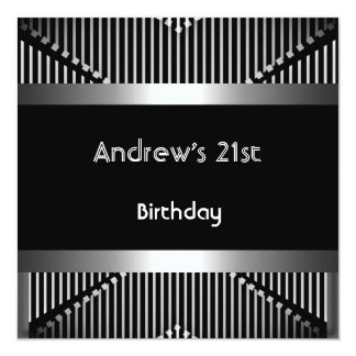 Man's 21st Birthday Party Silver Black Metal Jewel 5.25x5.25 Square Paper Invitation Card