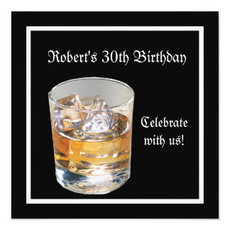 Mans 30th Birthday Party Black Silver Drinks Card
