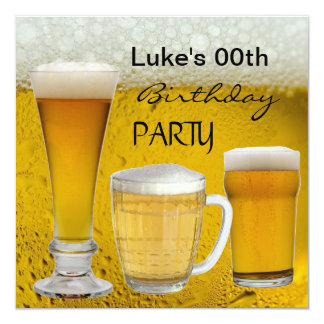 Mans Any Age Birthday Party Drinks Beer 13 Cm X 13 Cm Square Invitation Card