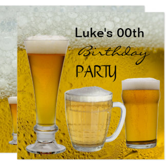 Mans Any Age Birthday Party Drinks Beer Card