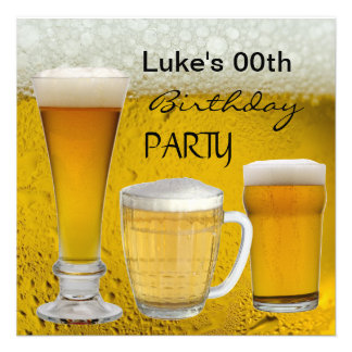 Mans Any Age Birthday Party Drinks Beer Invite