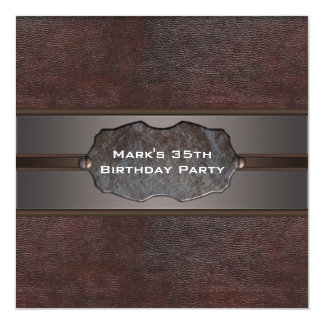 Mans Birthday Party Brown Leather Card