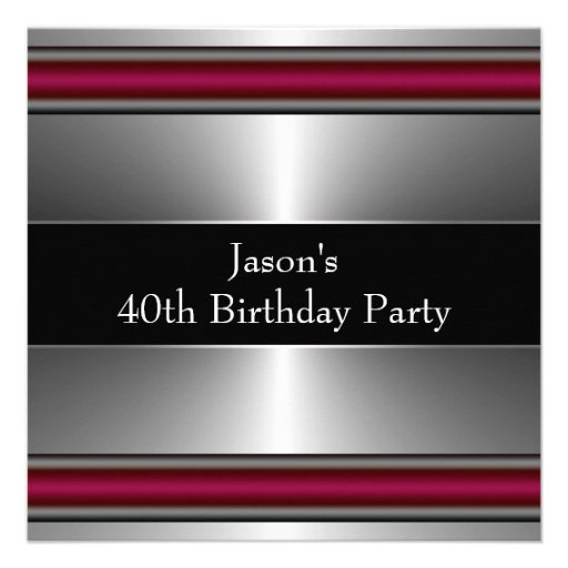 Mans Black Red Silver Classy 40th Birthday Party Personalized Invites