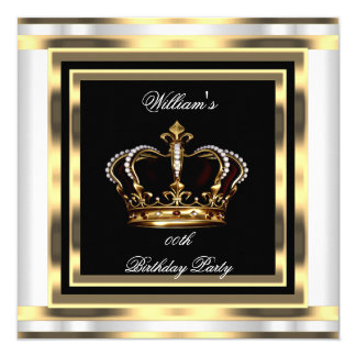 Mans Black Silver White Gold Birthday Prince King 13 Cm X 13 Cm Square Invitation Card