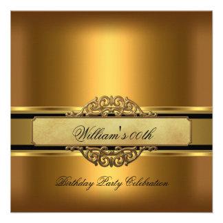 Mans Bronze Gold Birthday Party Mens Invite