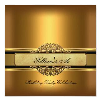 "Mans Bronze Gold Birthday Party Mens 5.25"" Square Invitation Card"