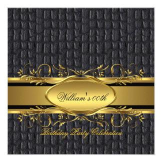 Mans Brown Black Gold Birthday Party Men's Custom Invitations