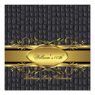 Mans Brown Black Gold Birthday Party Men's 13 Cm X 13 Cm Square Invitation Card