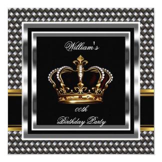 Mans Elegant Black Silver Birthday Prince King 13 Cm X 13 Cm Square Invitation Card