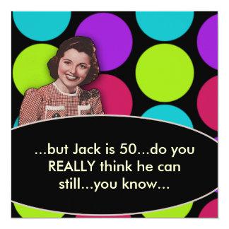 Mans Funny Retro 50th Birthday Party 13 Cm X 13 Cm Square Invitation Card