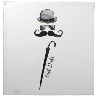"Man's Hat Mustache Umbrella ""cool dude"" Napkin"