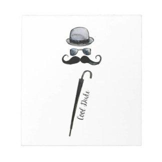 "Man's Hat Mustache Umbrella ""cool dude"" Notepad"