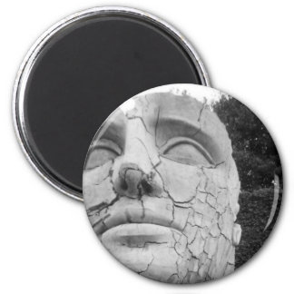 Man's Head Sculpture in Black and White Refrigerator Magnets