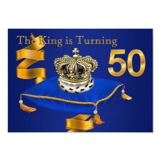 Mans King 50th Birthday Party 13 Cm X 18 Cm Invitation Card