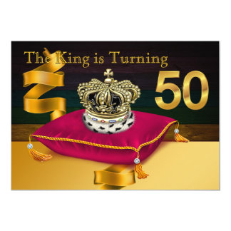 Mans King Theme 50th Birthday Party 13 Cm X 18 Cm Invitation Card