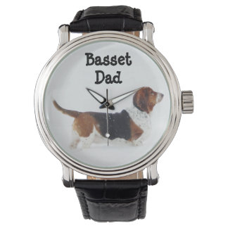 """Man's Leather Strap Watch With """"Basset Dad"""""""