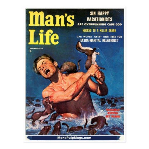 Man's Life, Sept. 1956 - Weasels Ripped My Flesh! Postcard