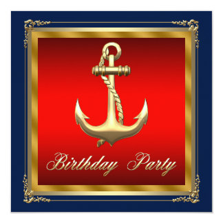 Mans Nautical Birthday Party Card