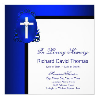Mans Navy Blue Cross In Loving Memory Memorial Personalized Announcement