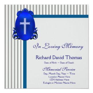Mans Navy Blue Gray In Loving Memory Memorial Card